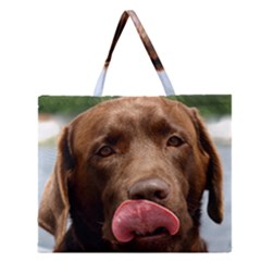 Chocolate Lab Zipper Large Tote Bag by TailWags
