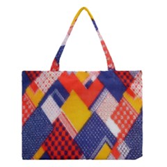 Background Fabric Multicolored Patterns Medium Tote Bag by Zeze