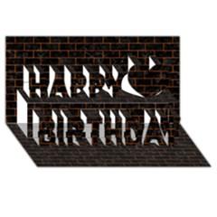 Brick1 Black Marble & Brown Marble (r) Happy Birthday 3d Greeting Card (8x4) by trendistuff