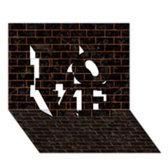 Brick1 Black Marble & Brown Marble (r) Love 3d Greeting Card (7x5) by trendistuff