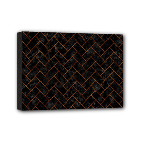 Brick2 Black Marble & Brown Marble (r) Mini Canvas 7  X 5  (stretched) by trendistuff
