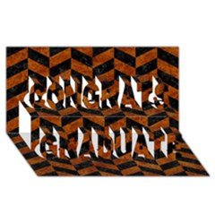 Chevron1 Black Marble & Brown Marble Congrats Graduate 3d Greeting Card (8x4) by trendistuff