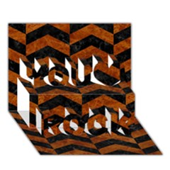 Chevron2 Black Marble & Brown Marble You Rock 3d Greeting Card (7x5) by trendistuff