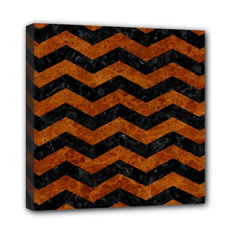 Chevron3 Black Marble & Brown Marble Mini Canvas 8  X 8  (stretched) by trendistuff