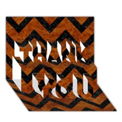 Chevron9 Black Marble & Brown Marble (r) Thank You 3d Greeting Card (7x5) by trendistuff