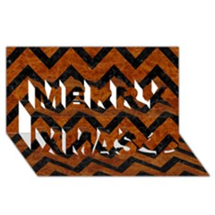 Chevron9 Black Marble & Brown Marble (r) Merry Xmas 3d Greeting Card (8x4) by trendistuff
