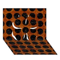 Circles1 Black Marble & Brown Marble (r) Clover 3d Greeting Card (7x5)