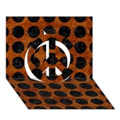 Circles1 Black Marble & Brown Marble (r) Peace Sign 3d Greeting Card (7x5) by trendistuff