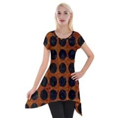 Circles1 Black Marble & Brown Marble (r) Short Sleeve Side Drop Tunic by trendistuff