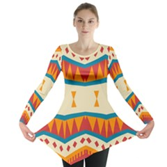 Mirrored Shapes In Retro Colors                                                                                                                 Long Sleeve Tunic