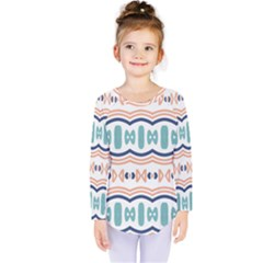 Shapes and waves                                        Kids  Long Sleeve Tee by LalyLauraFLM