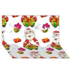 Xmas Patterns  Twin Hearts 3d Greeting Card (8x4) by Onesevenart