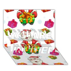 Xmas Patterns  You Are Invited 3d Greeting Card (7x5) by Onesevenart