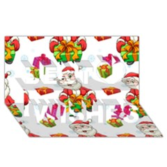 Xmas Patterns  Best Wish 3d Greeting Card (8x4) by Onesevenart