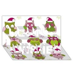 Cartoon Christmas Owl Cute Vector Best Wish 3d Greeting Card (8x4) by Onesevenart