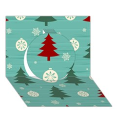 Christmas Tree With Snow Seamless Pattern Vector Circle 3d Greeting Card (7x5) by Onesevenart