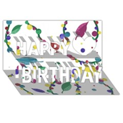 Abstract Floral Design Happy Birthday 3d Greeting Card (8x4)