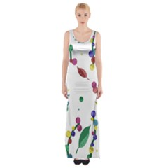 Abstract Floral Design Maxi Thigh Split Dress by Valentinaart