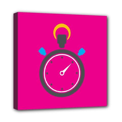 Alarm Clock Houre Mini Canvas 8  X 8  by AnjaniArt