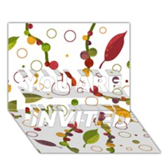 Adorable Floral Design You Are Invited 3d Greeting Card (7x5)