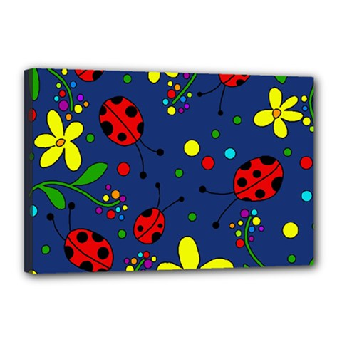 Ladybugs   Blue Canvas 18  X 12  by Valentinaart