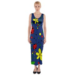 Ladybugs   Blue Fitted Maxi Dress by Valentinaart