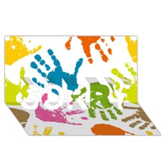 Hand Sorry 3d Greeting Card (8x4)