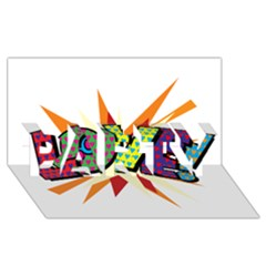 Comic Book Love! Sans  Party 3d Greeting Card (8x4) by ComicBookPOP