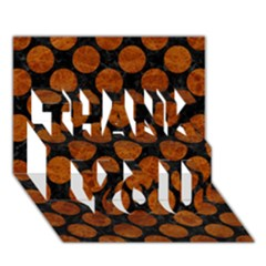 Circles2 Black Marble & Brown Marble Thank You 3d Greeting Card (7x5) by trendistuff