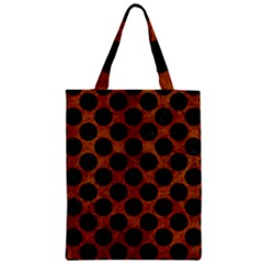 Circles2 Black Marble & Brown Marble (r) Zipper Classic Tote Bag by trendistuff