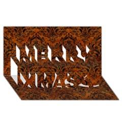 Damask1 Black Marble & Brown Marble (r) Merry Xmas 3d Greeting Card (8x4) by trendistuff