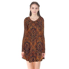 Damask1 Black Marble & Brown Marble (r) Long Sleeve V Neck Flare Dress