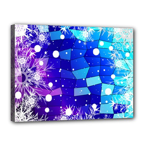 Christmas Snowflake With Shiny Polygon Background Vector Canvas 16  X 12  by Onesevenart