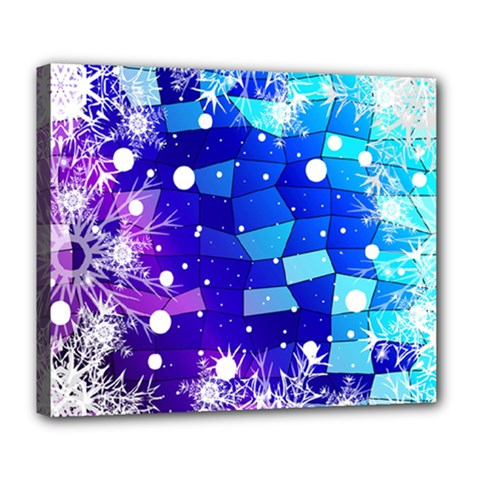 Christmas Snowflake With Shiny Polygon Background Vector Deluxe Canvas 24  X 20   by Onesevenart
