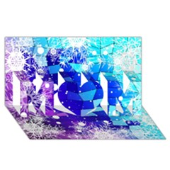 Christmas Snowflake With Shiny Polygon Background Vector Mom 3d Greeting Card (8x4) by Onesevenart