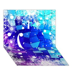 Christmas Snowflake With Shiny Polygon Background Vector Apple 3d Greeting Card (7x5) by Onesevenart