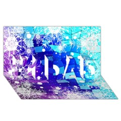 Christmas Snowflake With Shiny Polygon Background Vector #1 Dad 3d Greeting Card (8x4) by Onesevenart