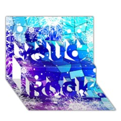 Christmas Snowflake With Shiny Polygon Background Vector You Rock 3d Greeting Card (7x5) by Onesevenart
