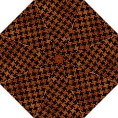 Houndstooth2 Black Marble & Brown Marble Hook Handle Umbrella (large) by trendistuff