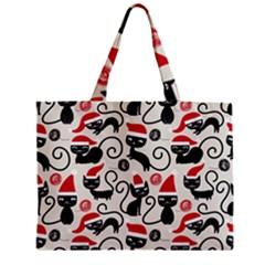Cute Cat Christmas Seamless Pattern Vector  Zipper Mini Tote Bag by Onesevenart