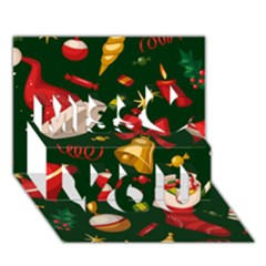 Cute Christmas Seamless Pattern Miss You 3d Greeting Card (7x5)