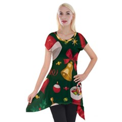 Cute Christmas Seamless Pattern Short Sleeve Side Drop Tunic by Onesevenart