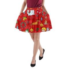 Cute Christmas Seamless Pattern Vector  A Line Pocket Skirt by Onesevenart