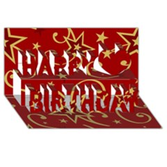 Elements Of Christmas Decorative Pattern Vector Happy Birthday 3d Greeting Card (8x4) by Onesevenart