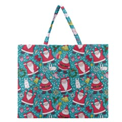 Cute Christmas Seamless Pattern Vector   Zipper Large Tote Bag by Onesevenart