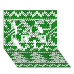 Knitted Fabric Christmas Pattern Vector Love 3d Greeting Card (7x5) by Onesevenart