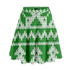 Knitted Fabric Christmas Pattern Vector High Waist Skirt by Onesevenart