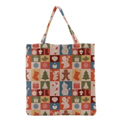 Xmas  Cute Christmas Seamless Pattern Grocery Tote Bag by Onesevenart