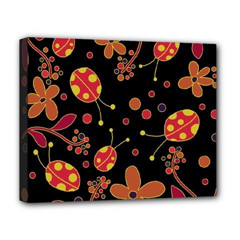 Flowers And Ladybugs 2 Deluxe Canvas 20  X 16   by Valentinaart