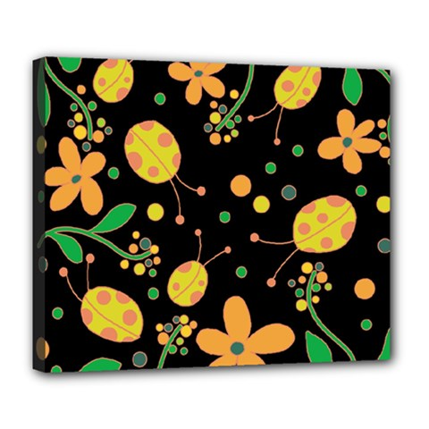 Ladybugs And Flowers 3 Deluxe Canvas 24  X 20   by Valentinaart
